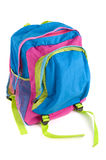 Colorful child\'s backpack. A colorful children\'s backpack isolated on white Stock Photography