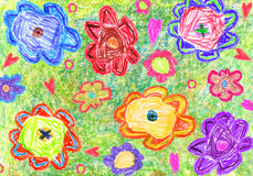 Colorful Child's Drawing of flowers Stock Photo