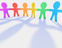 Colorful child's handing hands, cartoon people silhouettes 3d illustration. Royalty Free Stock Photography