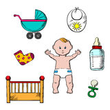 Colorful childish and baby icons Royalty Free Stock Image