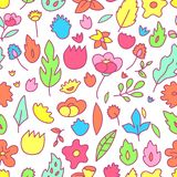 Colorful childish floral drawings seamless pattern, vector. Background Royalty Free Stock Images