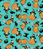 Colorful childlike seamless pattern with witches and pumpkins. Vector halloween pattern. Royalty Free Stock Images