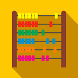 Colorful children abacus flat icon. On a yellow background Royalty Free Stock Image