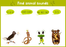 Colorful children cartoon game education puzzle for children on the theme of the study of the sounds of cute wild animals in the f Stock Photos