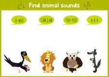 Colorful children cartoon game education puzzle for children on the theme of the study of the sounds of the wild animals of the fo Stock Photo