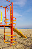 Colorful children chute on Beach Royalty Free Stock Photography