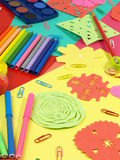 Colorful children desktop with accesories Stock Photography