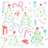 Colorful Children Drawings of  Fir trees. Funny Doodle Hand Drawn Winter Holyday`s Symbols. Perfect for Festive Design Royalty Free Stock Photography
