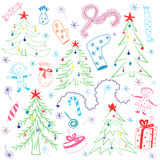 Colorful Children Drawings of Fir trees. Funny Doodle Winter Holiday`s Symbols and Kids. Perfect for Festive Design. Vector Illustration stock illustration