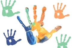 Colorful Children hands painted with water colors Stock Photos