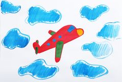Colorful children painting of red airplane royalty free stock photos
