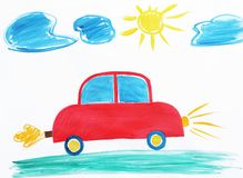 Colorful children painting of red car royalty free stock images