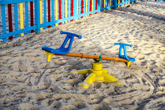 Colorful children playground on park Stock Photos