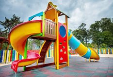 Colorful children playground. Colorful children playground in the park Royalty Free Stock Photos