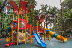 Colorful Children Playground In The Park. Colourful Children Playground In The Park Royalty Free Stock Photos