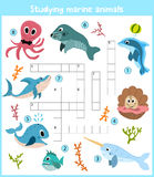 A colorful children's cartoon crossword, education game for children on the theme of sea animals and fishes living in the seas and Stock Images