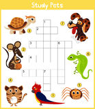 A colorful children's cartoon crossword, education game for children on the topic of learning different types of Pets including ca Royalty Free Stock Image