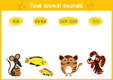 Colorful children's cartoon puzzle game for children on the theme of learning animal sounds. Vector Royalty Free Stock Photo
