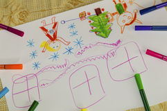 Colorful children`s drawing Stock Image