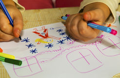 Colorful children`s drawing Royalty Free Stock Image
