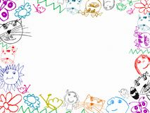 Colorful children's drawings frame background Royalty Free Stock Photos