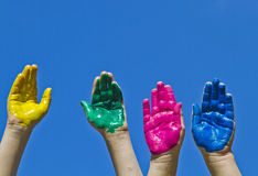 Colorful children's hands Royalty Free Stock Photography