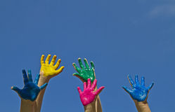 Colorful children's hands Royalty Free Stock Photo