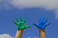 Colorful children's hands Stock Photography