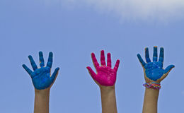 Colorful children's hands Stock Image