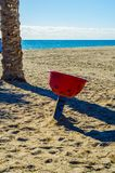 Colorful children`s Playground on the beach on a hot day, Playgr. Ound for children near the sea, relax and fun Stock Images