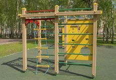 Colorful children`s Playground in the Park. Summer, vacation, nobody. Colorful children`s Playground in the Park. Summer, vacation nobody Royalty Free Stock Images