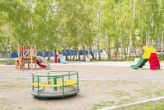 Colorful children's Playground in the Park. Summer, vacation, nobody. Colorful children's Playground in the Park. Summer, vacation Royalty Free Stock Image