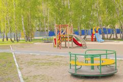 Colorful children`s Playground in the Park. Summer, vacation, nobody. Colorful children`s Playground in the Park. Summer, vacation nobody Royalty Free Stock Photos