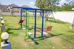 Colorful children's playground. In village Stock Photos