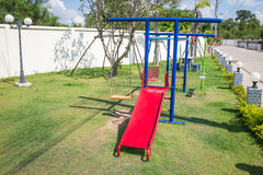 Colorful children's playground. In village Royalty Free Stock Photo