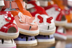 Colorful children's shoes Stock Images