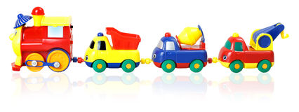 Colorful children's train with wagons Royalty Free Stock Photos