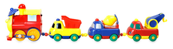 Colorful children's train with wagons Stock Photography