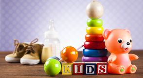Kids World toy on a wooden background stock images
