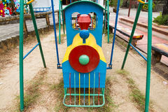 Colorful children train in playground.Toys for children.  Stock Image