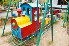 Colorful children train in playground.Toys for children.  Royalty Free Stock Images