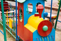 Colorful children train in playground.Toys for children Stock Photos