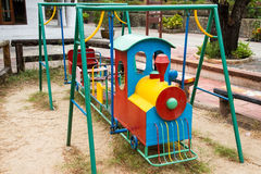Colorful children train in playground.Toys for children.  Royalty Free Stock Photo