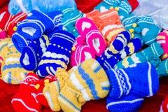 Wool socks. The colorful children wool socks Stock Images