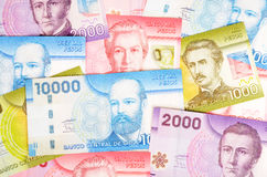 Colorful Chilean Pesos Closeup. Bunch of Chilean pesos in various denominations and colors