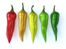 Colorful chili. Es isolated on white background Stock Photo