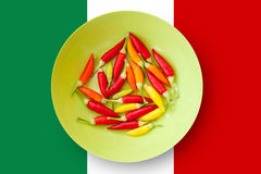 Colorful chili peppers plate with Mexico flag Royalty Free Stock Photo