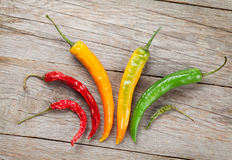 Colorful chili peppers Stock Images