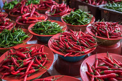 Colorful chilli peppers stall, asian market Royalty Free Stock Image
