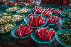 Colorful chilli peppers stall, asian market Stock Photo